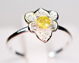 Natural transparent high quality luster&Fire Sphene,CZ925 Silver Ring#3