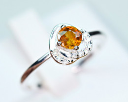 Natural transparent high quality luster&Fire Sphene,CZ925 Silver Ring#5