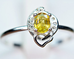 Natural transparent high quality luster&Fire Sphene,CZ925 Silver Ring#7