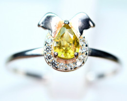 Natural transparent high quality luster&Fire Sphene,CZ925 Silver Ring#8