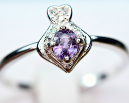 Natural top Burmese Top Color lustrous Spinel ,CZ 925 Silver Ring#9