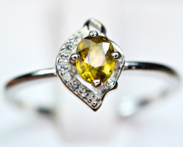 Natural transparent high quality luster&Fire Sphene,CZ925 Silver Ring#10