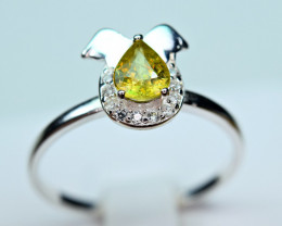 Natural transparent high quality luster&Fire Sphene,CZ925 Silver Ring#11