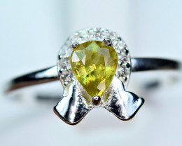 Natural transparent high quality luster&Fire Sphene,CZ925 Silver Ring#13