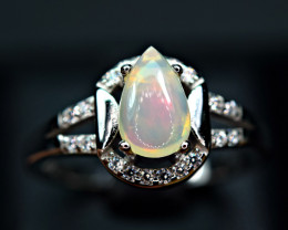 Natural phenomenal Multi Fire Opal Cabochon,CZ 925 Silver Ring#15
