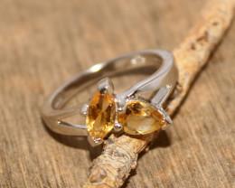 Natural Citrine 925 Silver Ring 473