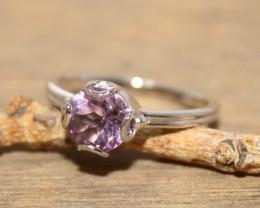 Natural Amethyst 925 Silver Ring 386