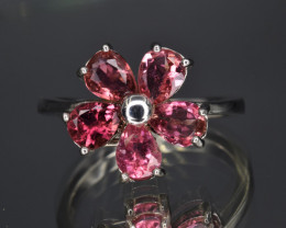 Natural Pink Tourmaline  and 925 Silver Ring