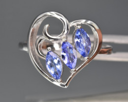 Natural Tanzanite  and 925 Silver Ring