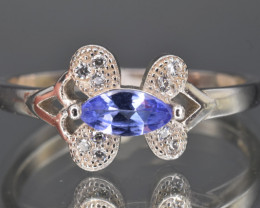 Natural Tanzanite , CZ and 925 Silver Ring