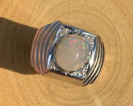 Natural Opal and Diamond Ring .