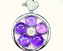 Natural Amethyst With CZ Nice 925 Silver Pendant
