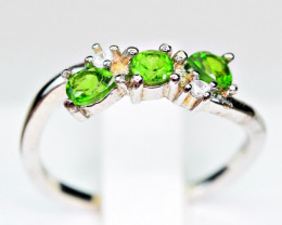 Natural several top Green Chrome Diaposide 925 Silver Ring