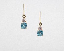 Blue & Pink Zircon Drop Earrings Mounted in 14k Yellow Gold, Cushion Cut