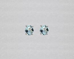 Aquamarine Birthstone Stud Earrings Mounted in 14k White Gold, Oval Cut, Aq