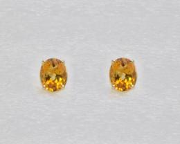 Citrine Birthstone Stud Earrings Mounted in 14k Yellow Gold, Oval Cut
