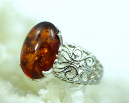 Natural Baltic Amber Sterling Silver Ring size 6 code GI 791