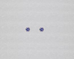 Tanzanite Birthstone Stud Earrings Mounted in 14k White Gold, Brilliant Cut