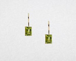 Peridot Birthstone Stud Earrings Mounted in 14k Yellow Gold, Emerald Cut