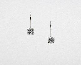 White Zircon Birthstone Drop Earrings, Mounted in 14k White Gold, Brilliant