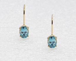 Blue Zircon Birthstone Drop Earrings, Mounted in 14k yellow Gold, Oval Cut