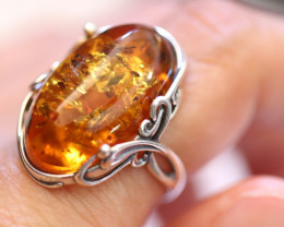 Natural  Baltic Amber Sterling Silver Ring size 7 code GI 814