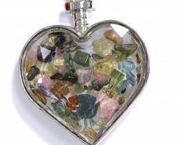 Lovers Heart Shape Natural Tourmaline Gemstone Pendants AHA   294