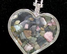 Lovers Heart Shape Natural Tourmaline Gemstone Pendants AHA   295