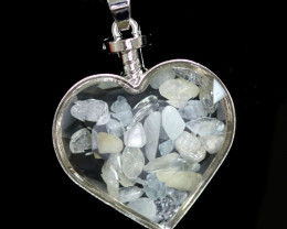 Lovers Heart Shape Natural Aquamarine  Gemstone Pendants AHA   296