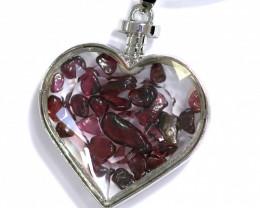Lovers Heart,Natural Garnet   Gemstone Pendants AHA  301