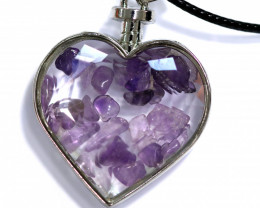 Lovers Heart,Natural Amethyst  Gemstone Pendants  AHA315