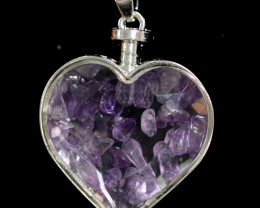 Lovers Heart,Natural Amethyst  Gemstone Pendants  AHA 318