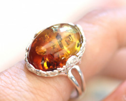 Natural  Baltic Amber Sterling Silver Ring size 6 code GI 846