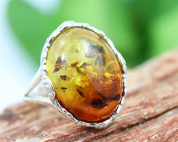 Natural  Baltic Amber Sterling Silver Ring size 7 code GI 847