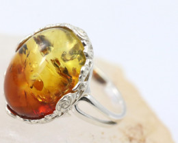 Natural  Baltic Amber Sterling Silver Ring size 9 code GI 848