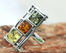 Natural  Baltic Amber Sterling Silver Ring size 7 code GI 853