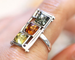 Natural  Baltic Amber Sterling Silver Ring size 8 code GI 854