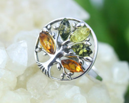 Natural  Baltic Amber Sterling Silver Ring size 7 code GI 862