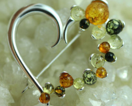 Natural Baltic  Amber Sterling Silver Brooch code GI 870
