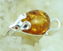 Natural Baltic  Amber Sterling Silver Brooch code GI 875