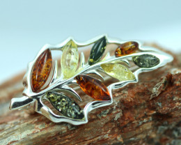 Natural Baltic  Amber Sterling Silver Brooch code GI 880