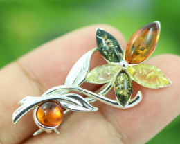 Natural Baltic  Amber Sterling Silver Brooch code GI 891