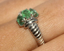 Natural Emerald 925 Silver Ring 463