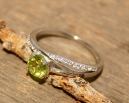 Natural Peridot 925 Silver Ring 451