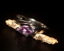 Natural Amethyst 925 Silver Ring 387