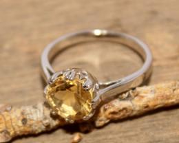 Natural Citrine 925 Silver Ring 453