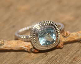 Natural Blue Topaz 925 Silver Ring 434