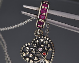 Natural Ruby  and 925 Silver Pendant with Chain