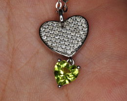 Natural Peridot ,CZ and 925 Silver Pendant with Chain