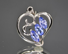 Natural Tanzanite  and 925 Silver Pendant